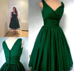 Wholesale Red Satin Overlay - Emerald Green 1950s Cocktail Dress Vintage Tea Length Cheap Under 100 Plus Size Chiffon Overlay Elegant Prom Party Gowns Custom Made New