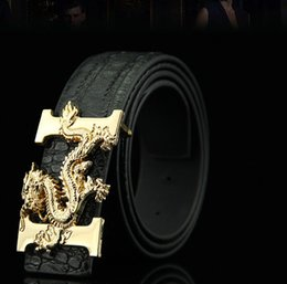 Wholesale Top Quality Leather Belts - New hot Mens And Women Belt With Fashion Metal Buckle Real Leather Top Designer High Quality Luxury Male Dragon luck Belts