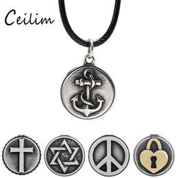 Wholesale Lock Box For Jewelry - Fashion Anchor & Cross & Love Lock Pendant Necklaces Stainless Steel Jewelry For Women Leather Rope Chain Statement Necklace With Gifts Box