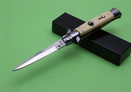 Wholesale Ivory Handle - promotion AKC Auto Tactical Knife 440C Mirror Polish Blade EDC Pocket Knife Ivory white fiber handle Outdoor Folding Knife Xmas Gift