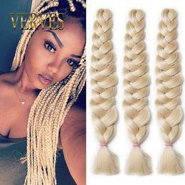 Wholesale Blonde Synthetic Hair Extensions - 5 piece Braiding Hair braid 165g pcs 42inch blonde 613# bulk Synthetic Crochet Hair Fiber Kanekalon Jumbo Braid Hair Extensions