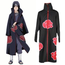 Wholesale Naruto Itachi Cosplay Full - Uchiha Itachi cosplay costumes Akatsuki Cloak Japanese anime Naruto clothing Computer Embroidery Anime Costumes Red Cloud Cloak