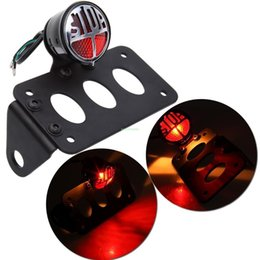 Wholesale Chopper Brake Tail Light - Vintage refitted universal Motorcycle Side Mount Rear Brake License Plate Tail Light Lamp For Harley Bobber Chopper Para Moto