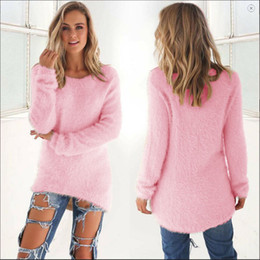 mohair crochet Coupons - Wholesale-Cozy Women Fashion Autumn Winter Warm Mohair O-Neck Women Pullover Long Sleeve Casual Loose Sweater Knitted Tops