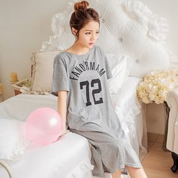 Wholesale white cotton nightgowns wholesale - Wholesale- 2017 Summer 100% Cotton Women Letter Nightgown Female Fashion Outwear Lady Pockets Nightdress Girl Pijama Home Clothes Size 3XL