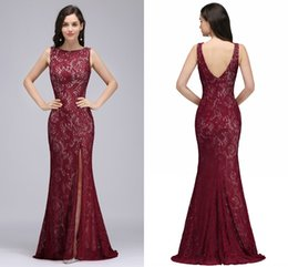 Wholesale Vintage Full Length Prom Dresses - Vintage Full Lace Mermaid Evening Dresses High Split Backless Sheath Formal Evening Gowns Cheap Real Photo Prom Dresses For Women Cps726