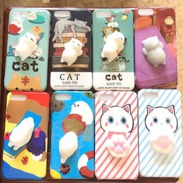 Wholesale Bear Cat Rabbit - Lovely 3D Soft Squishy Toys Cat Panda Seal Polar Bear Rabbit Cartoon Silicone Paste on Cellphone Case for iPhone 7 6s 6 Plus