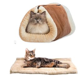 Wholesale Cat Beds Free Shipping - Free Shipping High Quality Lovely Pet Blanket Bed Comfortable Coral Fleece Dog Puppy Cat Beds Mat Warm Sleeping Bag 122601