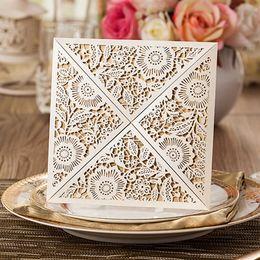 Wholesale elegant invitation paper - Wholesale-Wedding Party Favors Laser Cut Wedding Invitation Card 2016,with inner Paper Cards,Wedding Invitations Elegant 30PCS