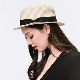 Wholesale Ladies Straw Fedora - Wholesale- Fashion Women Toquilla Straw Flat Sun Hat For Elegant Lady Fedora Top Cap Sunbonnet Sun-shading Beach Sunhat With Bowknot Ribbon