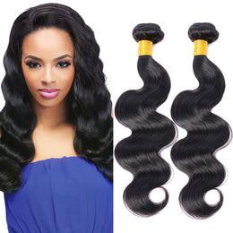 Wholesale Weave Bulk Sale - Hot Sale Body Wave Virgin Hair Extensions 3Pcs Lot 100% Unprocessed Brazilian Body Wave Bundles Natural Black Bulk Hair Extensions