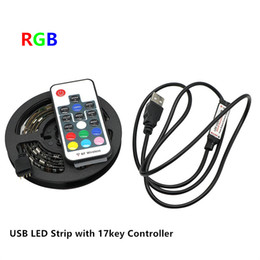 Wholesale Led Strip Tv - DC5V USB LED Strip 5050 RGB Flexible Light 1M 30LEDS TV Background Lighting RGB LED Strip Adhesive Tape IP65 Waterproof