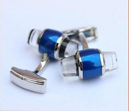 Wholesale Gift Button Box - MB40 Wholesale MB Cufflinks for Man Blue Crystal Star Branding Sleeve Buttons Silver Branded Cuff Links for Man with Gift Box