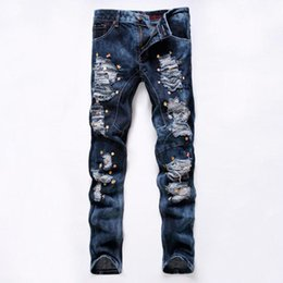Wholesale Hiphop Jeans For Men - Wholesale-Night Club Mens Jeans HipHop Skull Studded Ripped Destroyed Distressed Acid Washed Faded Punk Style Grey Jeans Pants For Hipster