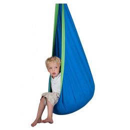 Wholesale Kids Hanging Chair Swing - Wholesale- Kid Hammock cocoon Baby Pod Swing Child Hanging Seat Chair Cotton Fabric+PVC Inflatable Cushion Garden Furniture Outdoor Hammock