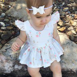Wholesale Sweet Heart Short Dresses - 2017 Ins Baby Girl dress Backless heart Floral Petal Ruffles sleeve Sweet dress Birthday gift white dress for baby 100%cotton 2017