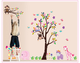 Wholesale kindergarten wall art - DF5099 Forest Animal Cartoon kindergarten Removable Wall Stickers For Kids Rooms Home Decor Art Decals House Decoration