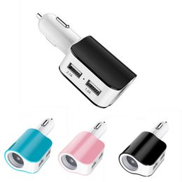 Wholesale Car Cigarette Power Splitter - Wholesale- 1PC 3.1A 2 Dual USB Car Cigarette Lighter Socket Splitter Charger Power Adapter For Samsung galaxy s7 Edge For IPAD