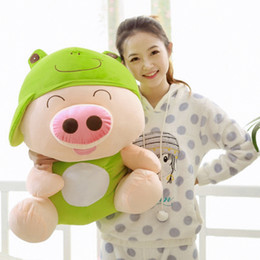 Wholesale Mcdull Pig Wholesale - Wholesale- 2016 Animal Series PP Cotton McDull Pig With Hat Soft Plush Toys Lovely Huging Pig Dolls Kids Birthday Gift 4 Colors