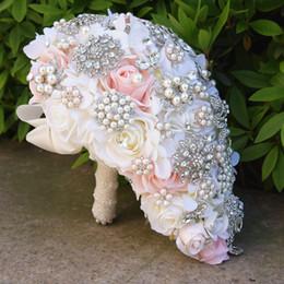 Fleurs de mariage en cascade en Ligne-Bouquet de cascade de blush vintage larme papillon broche Bouquet perle Alternative Bouquet Cristal De Mariage Fleur Bouquets De Mariée D575