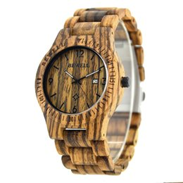 Wholesale Display For Watch Bands - Wood Band Natural Wooden Watches For Men Quartz Clock Date Display Wristwatch Japan Movement Bracelet Bangle Collection Relogio 086B