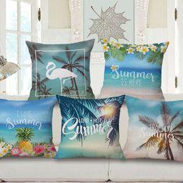 Wholesale Blue Flower Pillows - Tropical Summer Jungle Hibiscus Plants Cushion Covers Sea Palm Tree Pineapple Flowers Pillow Cover Decorative Linen Beige Pillow Case