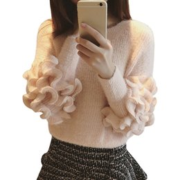 Wholesale Purple Mohair - Wholesale- Autumn Winter Sweater Women Sweet Wood Ear Edge Jumper Thin Loose long-sleeved Mohair Pullover Thick Clothing Vestidos LXJ149