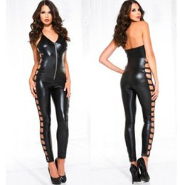 Wholesale Stripper Dance Clothes - High Quality Female Sexy Black PU Leather Bodycon Bodysuit Hollow Out V Neck Zipper Catsuit Lingerie Erotic Stripper Clubwear Dance Clothes