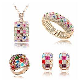 Wholesale Austrian Crystal Bracelet Swarovski - Austrian Crystal dubai Jewelry Luxury Queen Jewelry Set Necklace Earrings Bracelets Rings Crystal from Swarovski