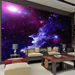 Wholesale Mediterranean Shipping - Purple Galaxy Wallpaper Mural Photo Giant Wall Decor Paper Poster Charming Galaxies For Children Living Room BED MURALS NEW Free Shipping