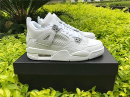 Wholesale Money Pack - Air retro 4 Pure Money fear pack white cement men women basketball shoes sneakers 2016 bred high cut sports shoes US sizes 5.5-13