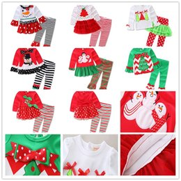 Wholesale Clothing Sets Wholesale Price - Kids Christmas Clothing Sets Christmas Outfit 12M-5T Shirt and trousers Low Price For Girls