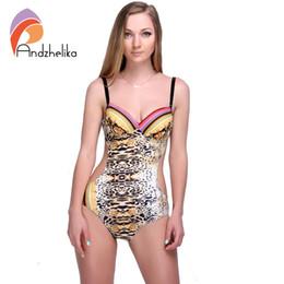 Wholesale Sexy Leopard Bodysuit Xl - 2016 Summer Style Woman One Pieces Push Up Print Leopard Bodysuit Slim Sexy Beach plus size swimwear TG7095