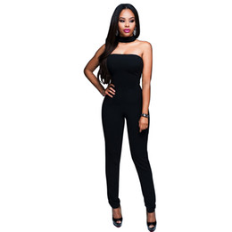 Wholesale Halter Top Jumpsuits Women - Wholesale- 2016 New Fashion Jumpsuit Women Overall Off The Shoulder Strapless Halter Top Sexy Overalls Bodycon Jumpsuits Romper