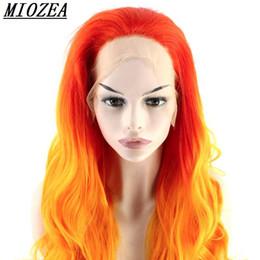 Rojo naranja sintético Ombre peluca del frente del cordón a prueba de calor  pelo ondulado largo para pelucas Cosplay envío gratis 5d5abd718b1c