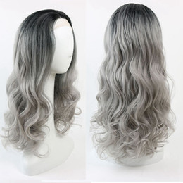 Wholesale Wig Gray Long - Long Hot Wavy Ombre Gray Rihanna Style Synthetic Lace Front Wig Glueless Ombre Tone Color Black And Grey Heat Resistant Hair Wig