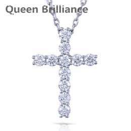 Wholesale Lab Diamond Pendant - Queen Brilliance 1.1ctw Lab Grown Moissanite Diamond Cross Pendant Necklace Platinum Plated 925 Sterling Silver For Women 17903