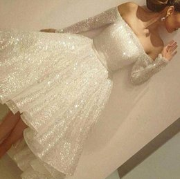 Wholesale Long Sleeve Sparkly Cocktail Dresses - Bling Sparkly Ivory Short Cocktail Dresses 2018 New Off the Shoulder Long Sleeve Tea Length Short Prom Dress Arabic Formal Party Wear