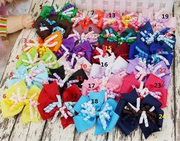 Wholesale Wholesale Streamer Bows - HOT SALE ! JOJO 5inch Layered Korker Hair Bow girl hair bow clip streamer cheer leader Children's hair accessories 60PCS