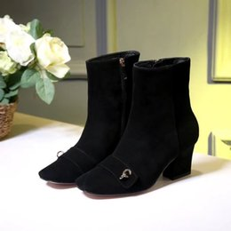 Wholesale Comfortable Platform Boots - Fashion Women High Heel Martin Boots Chunky Heel Platform Back Zipper Short Ankle Boots Simple Comfortable Women Shoes Size