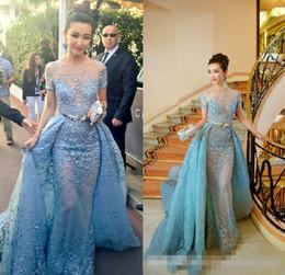 Wholesale Lace Over Keyhole - 2017 Light Sky Blue Zuhair Murad Evening Dresses Sheer Neck Short Sleeve Lace Tulle Over Skirt Celebrity Dresses Formal Prom Dresses