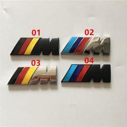 Wholesale Chrome Stickers - metal 55mm 45mm M power badge emblem chrome car stickers M sport side wing