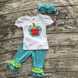 Wholesale Girls Apple Outfit - Wholesale- girl summer shorts outfits girls back to school clothing children apple sets polka dot ruffle caprt set with accessories