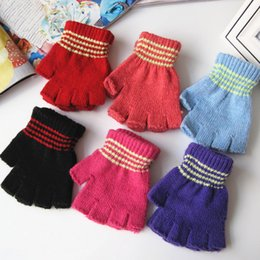 Wholesale Kids Cotton Finger Gloves - Wholesale- Autumn and winter primary school students semi-finger gloves kids child stripe knitted thicken thermal writing gloves