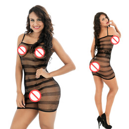 Wholesale Hot Fishnet Dresses - Short Sexy Sleepwear Hot Sexy Fishnet Lines Stripe Corset Fishnet Lingerie Babydoll Teddy Catsuit Bodysuit Stocking Nightie Dress