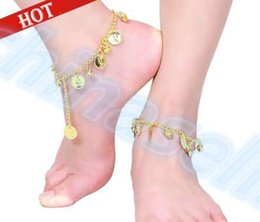Wholesale Indian Dance Wear - stage wear belly dance coin anklet Indian Gypsy dance Ankle chain Latin dancing anklets foot ornaments Dance clothing accessories