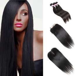 Wholesale Wholesale Brazilian Hair Bundles Sale - On Sale 8A Unprocessed Natural Color Straight with Closure 100% Virgin Human Hair Bundles Brazilian Peruvian Indian Mongolian Malaysion Hair