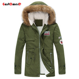 Wholesale Men Down Winter Long Coats - Wholesale- GustOmerD Fur Collar Long Style Lovers Winter Jacket Casual Slim Fit Army Winter Coat Men Warm Parka Men Size M-XXXL