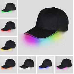Wholesale Glow Dark Hats - Bright LED black white Cap Glow in dark for Reading Fishing Jogging Light up LED Sport Hat Baseball Caps Christmas Luminous Holiday Hats