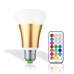 Wholesale Led Coloured Bulb - E27 RGBW LED Bulb 10W AC 85-265V RGB and White Led Lamp with IR Timing Remote Control Multiple Colour Led RGB Lamp